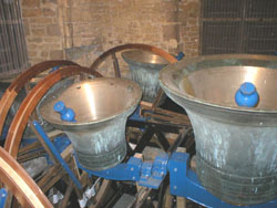 Number 4 and Tenor Bells showing freshly skimmed bell metal after retuning